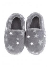 Younger Boys Grey Star Slippers