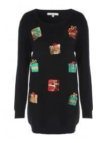 Womens Long Line Embellished Christmas Jumper