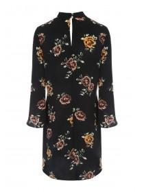 Womens Floral Choker Detail Long Sleeve Dress