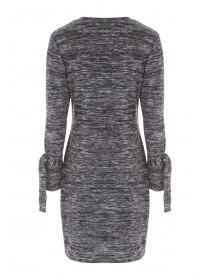 Womens Grey Tie Detail Dress