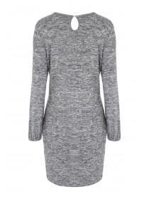 Womens Grey Ruffle Dress