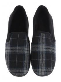 Mens Black Tartan Slippers