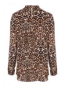 Womens Leopard Print High Neck Top