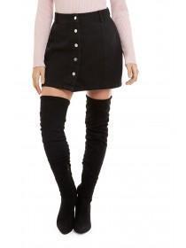Jane Norman Black Button Through Denim Skirt