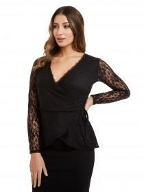 Jane Norman Black Wrap Lace Top