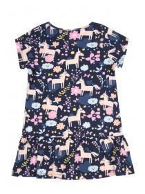 Younger Girls Dark Blue Peplum Hem Dress