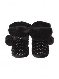 Girls Black Sequin Slipper Boots