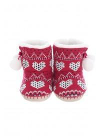 Girls Red Fair Isle Slipper Boots