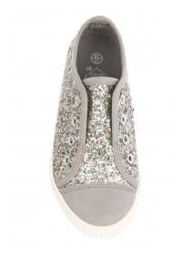 Younger Girls Glitter Lace less Trainers