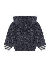 Baby Boys Blue Knit Hooded Jumper