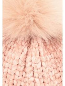 Womens Pink Chenille Pom Beanie