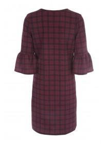 Womens Burgundy Check Dress