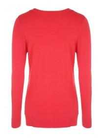 Womens Pink Crew Neck Stepped Jumper