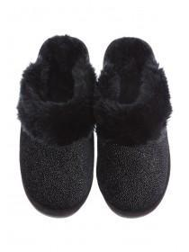 Womens Black Sparkly Mule Slippers