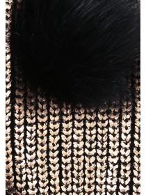 Womens Metallic Pom Pom Cut Off Mits