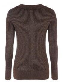 Womens Lurex Ribbed Turtle Neck Jumper