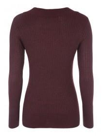 Womens Purple Lurex Ribbed Turtle Neck Jumper