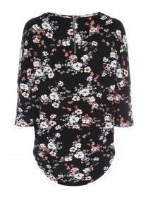 Womens Floral 3/4 Sleeve Top