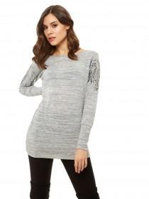 Jane Norman Grey Stud Sleeve Jumper