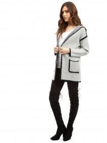Jane Norman Grey Contrast Trim Cardigan