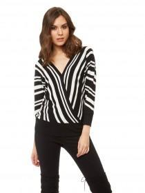 Jane Norman Monochrome Stripe Wrap Jumper