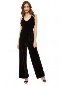 Jane Norman Black Velvet Ruffle Jumpsuit