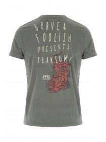 Mens Green Washed Tiger Print T-Shirt