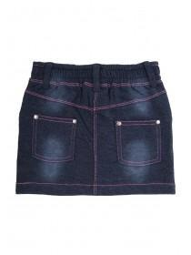 Younger Girls Patch Denim Look Skirt