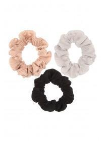 Womens 3pk Pleated Hair Scrunchies