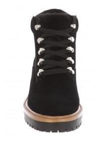 Womens Black Fur Tongue Hiker Boots