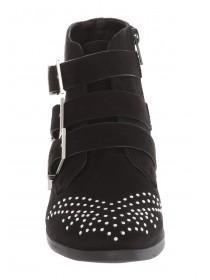 Womens Black Studded Biker Boots