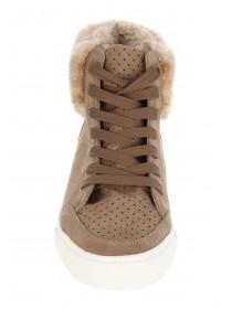 Womens Fur High Top Trainer