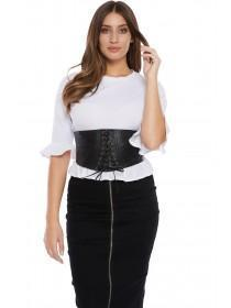 Jane Norman Black PU Lace Up Corset Belt