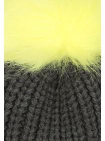 Womens Grey Ribbed Pom Hat