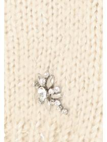 Womens Cream Embellished Cut Off Mitten