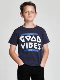 Older Boys Dark Blue Slogan T-Shirt