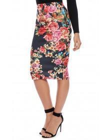 Jane Norman Black Floral Pencil Skirt