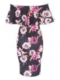 Jane Norman Floral Ruffle Bardot Dress