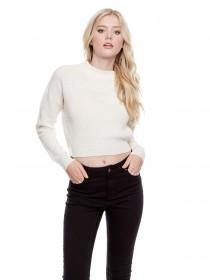 Jane Norman Cream Rib Cropped Jumper