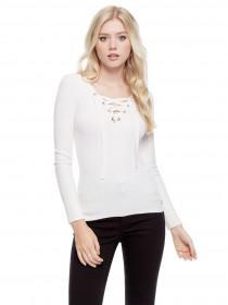 Jane Norman White Lace Up Jumper