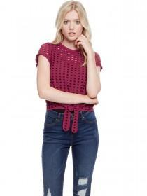Jane Norman Cherry Red Circular Cut Out Knot Top