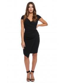 Jane Norman Black Wrap Asymmetric Dress