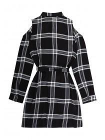 Older Girls Monochrome Check Shirt Dress