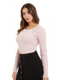 Jane Norman Pink Lace Up Detail Jumper