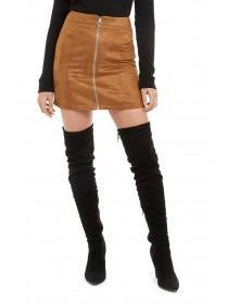 Jane Norman Tan Suedette Mini Skirt