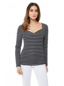 Jane Norman Black and White Stripe Ribbed Top