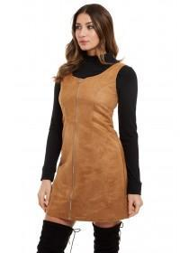 Jane Norman Tan Suedette Zip Dress