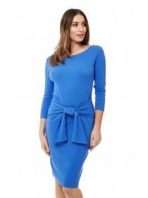 Jane Norman Blue Ribbed Tie Front Dress