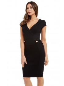 Jane Norman Black Wrap Pencil Dress