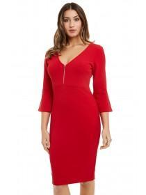Jane Norman Red Flute Sleeve Bodycon Dress